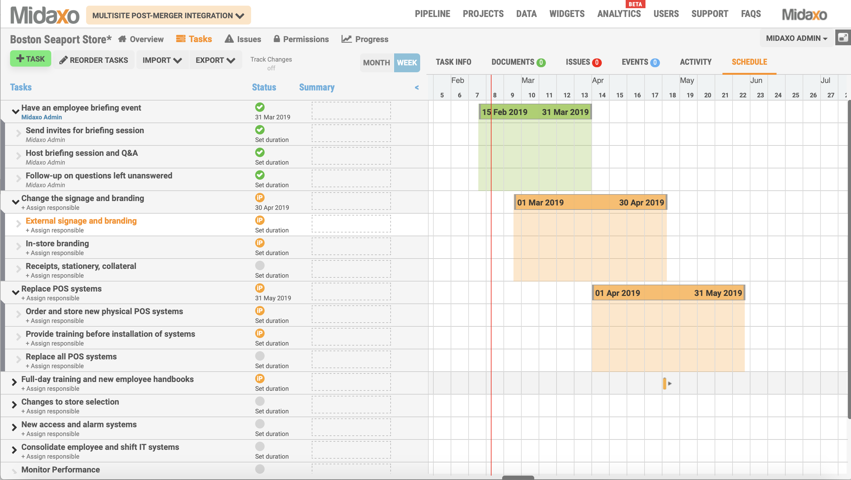 Midaxo Locations Gantt Screenshot