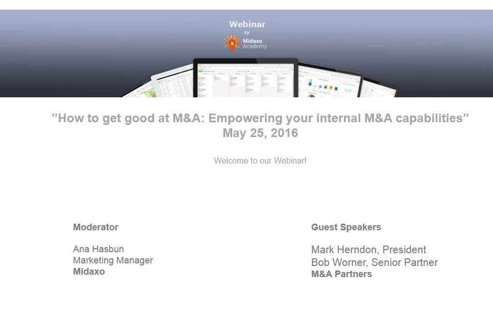 Webinar recording: How to get good at M&A - Empowering your internal M&A capabilities