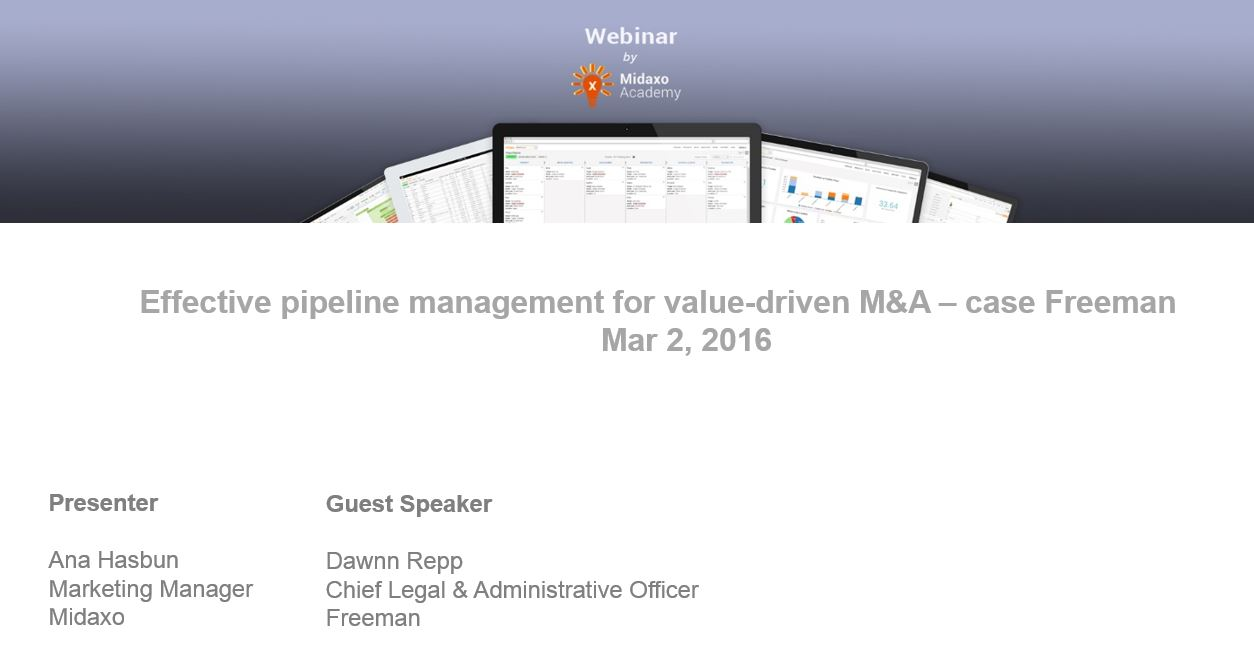 "Webinar recording: ""Effective pipeline management for value-driven M&A – case Freeman"""